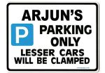 ARJUN'S Personalised Gift |Unique Present for Him | Parking Sign - Size Large - Metal faced